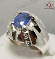 1.8 Ct Natural Cornflower Blue Sapphire Sterling Silver Rings For Men Size 7-13