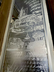 Etched Glass Door With Windmill And Birds 124x24