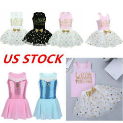 US Girls Birthday Party Dress Kids Dance Princess Outfits Tutu Skirts Dancewear