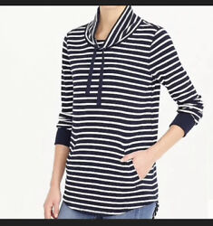 J Crew Beach Striped Funnelneck Sweatshirt Waffle Knit Cotton Navy Blue Pocket S $18.98