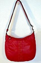Brighton Crossbody Hobo Red Pebbled Leather Woven amp; Stud Accents Flat Strap $37.00