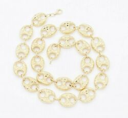 17mm Puffed Mariner Nugget Textured Chain Necklace Real 10k Yellow Gold