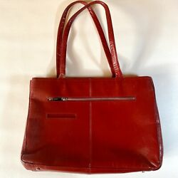 Hobo International Red Leather Large Double Straps Top Zip Satchel Handbag Tote $42.04