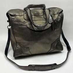 Coach Rhyder Messenger Leather Metallic Bronze Purse Tote Satchel Crossbody NY $144.00