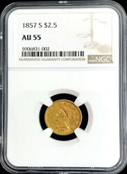 1857 S Gold Liberty Head 2.5 Quarter Eagle Coin Ngc About Unc 55 Scarce Date