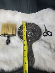 Antique 3d Mermaids Face Silver Vanity Dressing Table Set Germany