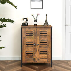 Cabinet Storage Cabinet with 2 Adjustable Shelves Cupboard Sideboard Rustic Brow