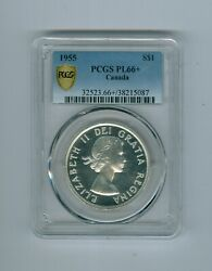 Canadian Silver Dollar 1955, Pl-66+ By Pcgs, Trace Cameo, Full Lustre..cat675