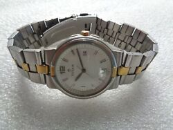 Rare India Made Titan Steel And Gold 2 Tone White Dial Date Menand039s Quartz Watch