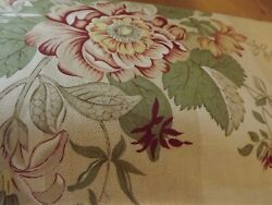Travers In Switzerland Floral Fabric Sold Bty Garnet Red Green Yellow On Tan Str