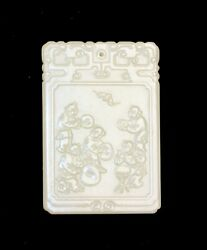 Vintage Large Carved Chinese Inscribed Boys Playing Jade Hanging Plaque Pendant