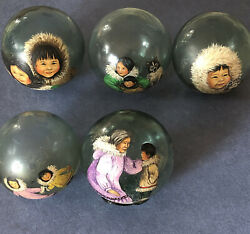 Antique Authentic Hand Painted Set Of 5 Glass Fishing Float Balls