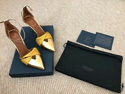 Malone Souliers Thalia Pump In Gold Sz 38 New