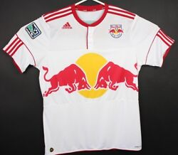 Adidas Mens Xl Soccer Jersey Mls New York Red Bull White Button Neck Football