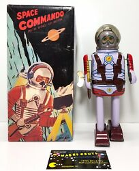 Space Commando Tin Robot With Wind Up Motor Ms 404 Very Rare Working