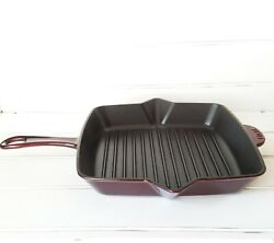 Staub Enameled Cast Iron Grill Pan With Side Spouts, 10, Grenadine Vguc