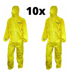 10x Dupont Tyvek Tychem C Cha5 Hooded Coverall Type 3 Yellow - Type 3-6 - Xl