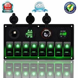 8 Gang Rocker Switch Panel+double Usb Power Charger Adapter+led Green Voltmeter