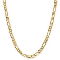 Leslieand039s Real 14kt Yellow Gold 6.25mm Flat Figaro Chain 24 Inch Lobster Clasp