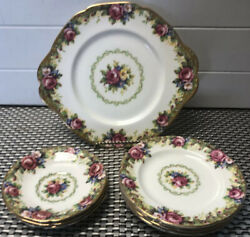 Paragon Tapestry Rose Cake Serving Plate, 5 Salad Plates And 3 Saucers England