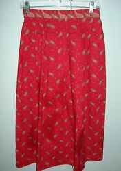 Les Olivades Red Provencal Fabric Skirt Size S