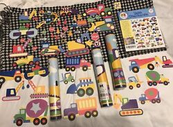 Olive Kids Under Construction 15 Yd. Wall Paper Border + 48 Cut-outs Lot. Mip