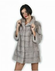 Mink Coats Size 44 Lead Color Horizontal Full Mount 3/4 Sleeve Piping