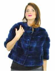 42 Jacket Mink Woman Blue Lapis Mod Cape With Round Neck And 3/4 Sleeve And Patt