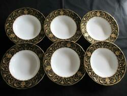 Royal Crown Derby Darley Abbey Black A1350 Pattern 6 X Rimmed Soup Dishes 8.5ins