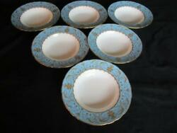 Royal Crown Derby Darley Abbey Harlequin Blue 6 X Rimmed Soup Dishes 8.5ins.