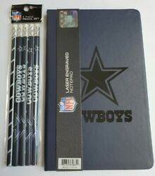 Dallas Cowboys Nfl Laser Engraved Logo Notebook 8x5 And 5 Pack Pencils Gift New