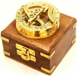 Solid Brass Sundial Compass - West London Pocket Sundial With Wooden Box-50 Lot
