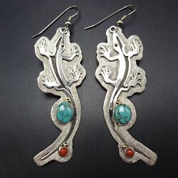 Ray Winner Lizard Earrings Sterling Silver With 14 Karat Gold Turquoise Coral