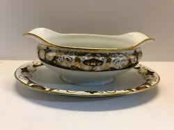 Noritake 20056 Gravy Boat Attach Underplate Black Gold Encrusted - Free Shipping