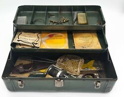 Vintage Meadow Brook Tackle Box Fishing Supplies Lures Reel Net Accessories Lot