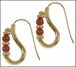 Historic Reproduction Of Ptolemaic Carnelian Earrings 24 Karat Gold Plated