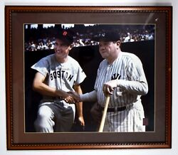 Ted Williams Babe Ruth Signed Auto Autograph 20x24 Photo Green Diamond Gd Estate