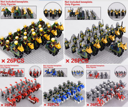 26 Pcs Minifigures Lego Moc Medieval Soldiers Weapons And Horses Set New 2020