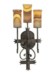 29 H Iglesia Set Of Two 3-light Sconce W/ Red Veins White W/ Amber Veins