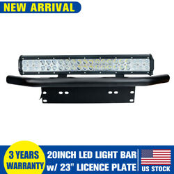 20 Led Work Light Bar 23 Bull Bar Bumper License Plate Mount Bracket Jeep Utv