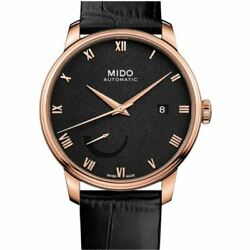 Mido Menand039s Baroncelli 40mm Black Leather Band Rose Gold Plated Case Automatic Wa