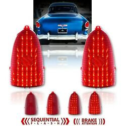 55 Chevy Red Led Sequential Tail Brake Light Back Up Delete Lenses Bel Air Pair