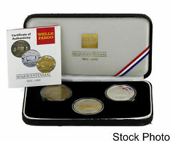 2002 Nwt Wells Fargo Sesquicentennial 3 Round Brass And Silver Set With Case And Coa