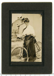 Wd3  Cabinet Card Young Lady Black Skirt On Antique Bicycle 685a