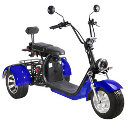 Soversky Electric 3 Wheel Scooter For Adults 2000w Lithium Tricycle T7.1 Blue