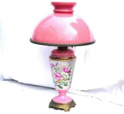 N894 Antique 19th French Porcelain Oil Lamp With Large Pink Opaline Glass Shade