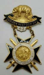 Vintage Golden West Comand039dy 43 Los Angeles California Knights Templar Pin Medal