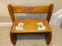 Vintage Kids Wooden Miniature Chair Step Stool Combo W/ Two Handpainted Kittens