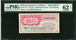 Rare Mpc Replacement Specimen Series 471 0.10 Ten Cent Military Payment