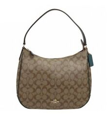 NWT COACH Zip Shoulder Canvas Leather Logo Classic Purse Dark Turquoise F29209 $160.00
